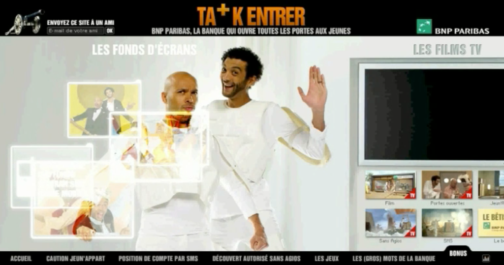 "CREATION MUSICALE : ""BNP PARIBAS Ta+Kentrer"". Website"